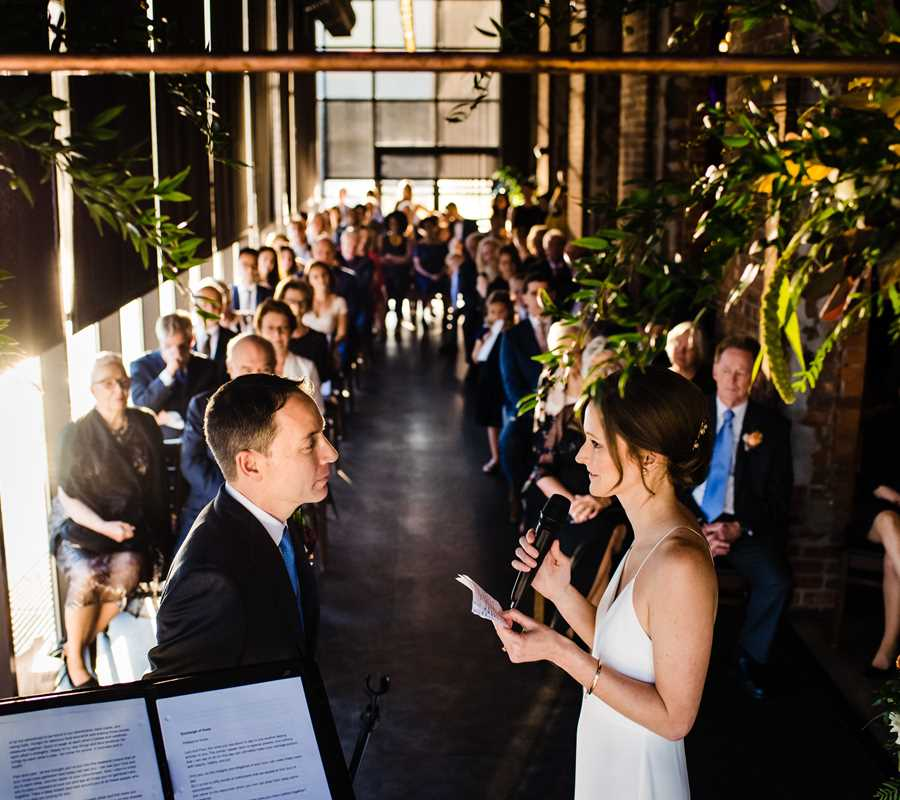 Ceremony in the Solarium. Photo: Hannah Photography.
